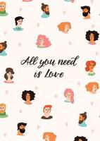 diseño de tarjetas de felicitación de amor con caras de personas.