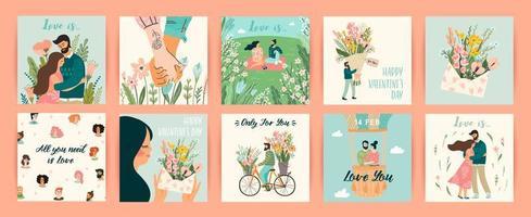 set van romantische ontwerpen voor Valentijnsdag kaarten