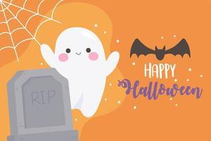 Halloween fantôme mignon, chauve-souris, pierre tombale, carte de toile d'araignée