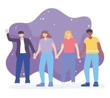 personas juntas, unidad masculina y femenina vector