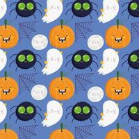 Halloween spider, pumpkin, moon, web, ghost pattern vector