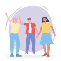 gente junta, mujer y hombre agitando las manos