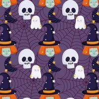 Happy Halloween witch, skull, ghost, web pattern