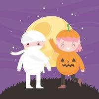 Happy Halloween, pumpkin and mummy in front of moon