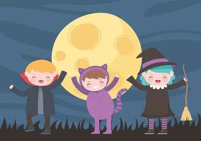 Halloween costume cat, witch and vampire at night