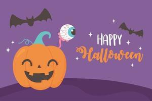 Happy Halloween funny pumpkin, spooky eye and bats card vector