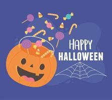 feliz halloween cayendo caramelos en diseño de cubo de calabaza