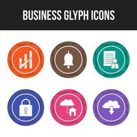 Business circular glyph icons