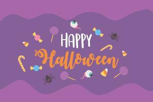 Halloween candies, spiders and creepy eyes poster vector