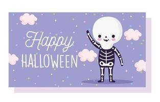 Happy Halloween, skeleton costume card vector