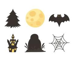 Halloween castle, gravestone, tree, moon, bat, web icons