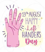 linkshandigen dag, open hand cartoon poster