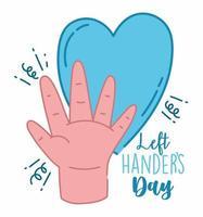 linkshandigen dag, open hand en blauw hart
