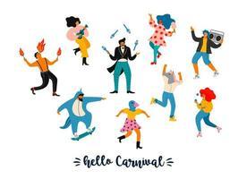 Set of cute people celebrating Carnival  vector