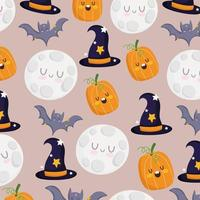 Happy Halloween pumpkin, bat, moon, witch hats pattern vector