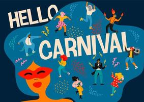 Hello Carnival horizontal poster with people celebrating  vector
