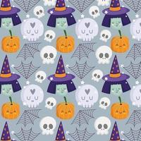 sorcière d'halloween heureuse, crânes, citrouille, motif de toile d'araignée