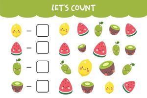 Zählspiel mit niedlichen bunten Früchten
