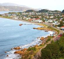 A  photo of a Wellington city on North Island, New Zealand.