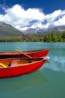 Boats on Strbske pleso in High Tatras during summer, Slovakia