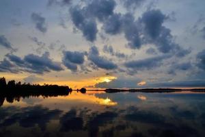 Romantic twilight. Lake Pongoma. Karelia, Russia