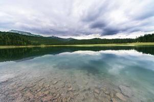 Reflection in water of mountain lakes photo