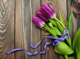 Tulips with ribbon