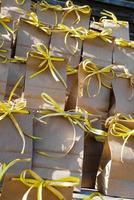 Brown Kraft Bags with Yellow Ribbon