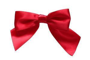 Red ribbon bow on pure white background XXXL photo