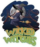 Wicked witches on a night background vector