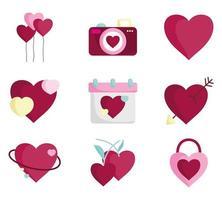 Romantic icon set for Valentine's Day