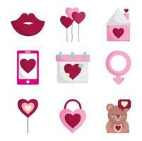 Romantic icon set for Valentine's Day  vector