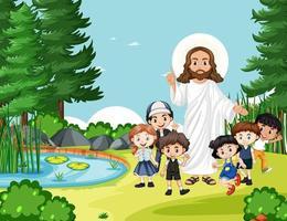jezus met kinderen in de parkscène