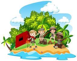 grupo de niños acampando aislado vector
