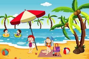 People having fun on the beach vector