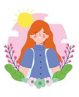 Young woman with flower frame vector