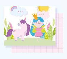 princesa de hadas con plantilla de tarjeta de unicornio