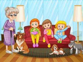 People staying at home with family vector