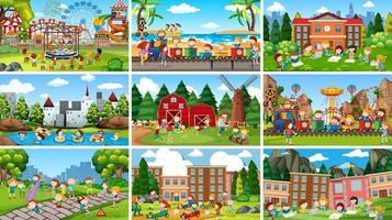 Scenes in a natural setting with kids set vector