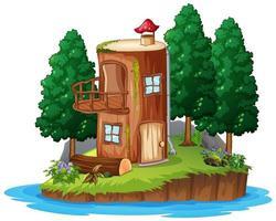 escena con una casa de madera.