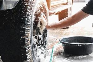 Washing a car tire