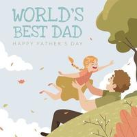 A Father Playing with His Daugter odn Father's Day vector