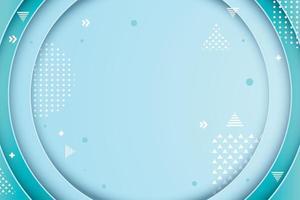 círculo dimensión azul con detalles geométricos blancos vector