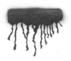 Black spray paint ink dripping on white background