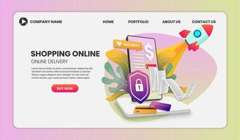 Shopping Online Web Template with Phone and Rocket