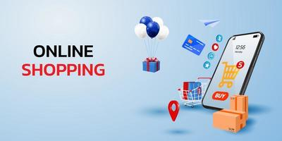 Online Shopping Concept with Mobile Phone vector