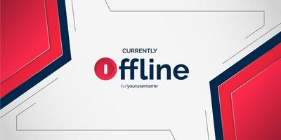 Abstract red futuristic offline stream gaming banner vector