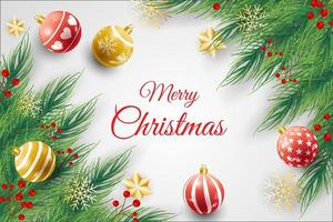 Merry Christmas Banner with Ornaments and Branches vector