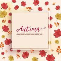 Autumn frame or sale banner in watercolor style