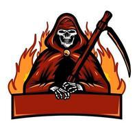 esqueleto en rojo con guadaña y mascota banner vector